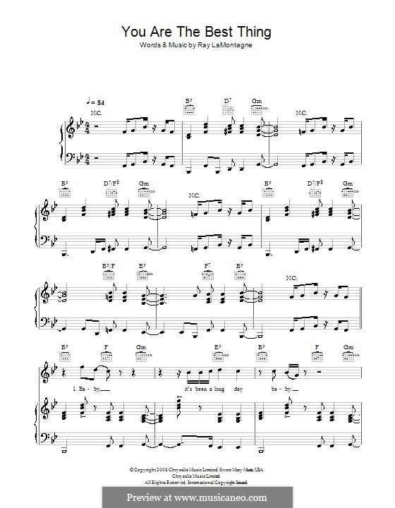 You Are the Best Thing: Für Stimme und Klavier (oder Gitarre) by Ray LaMontagne