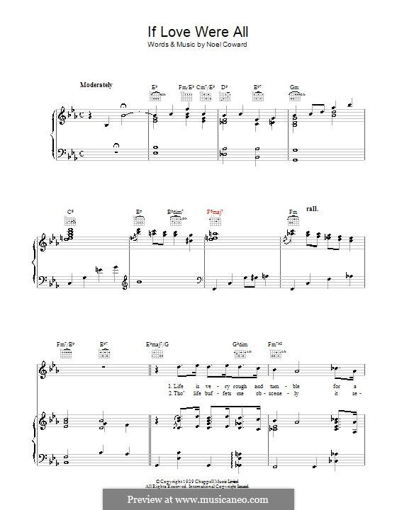 If Love Were All: Für Stimme und Klavier (oder Gitarre) by Noel Coward