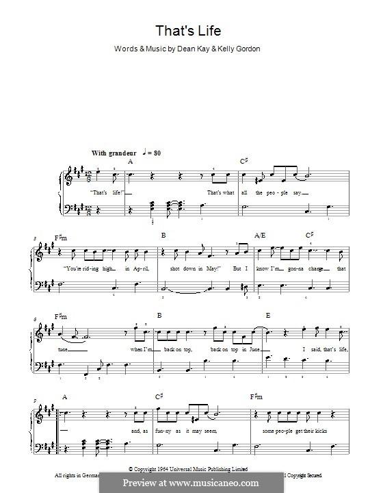 That's Life (Frank Sinatra): Für Klavier, leicht by Dean Kay, Kelly Gordon