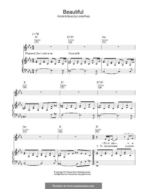 Beautifull (Christina Aguilera & Beverly McClellan): Für Stimme und Klavier (oder Gitarre) by Linda Perry