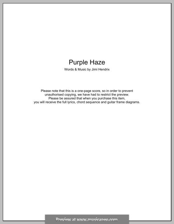 Purple Haze: Text und Akkorde by Jimi Hendrix