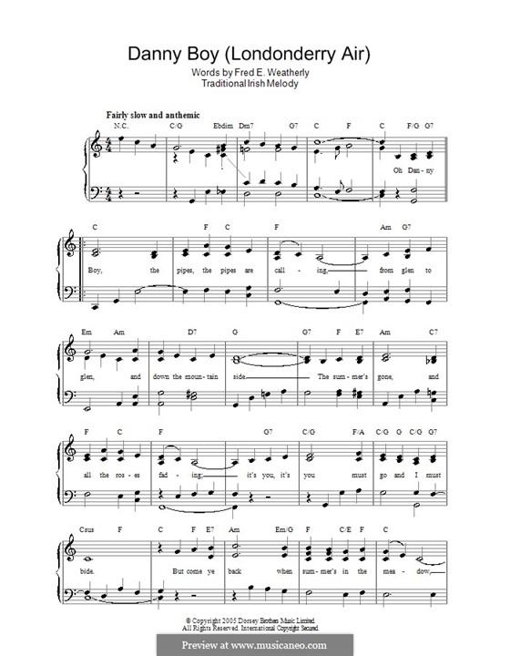 Danny Boy (Londonderry Air) Printable Scores: Für Stimme und Klavier by folklore