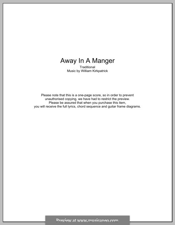 Away in a Manger: Text und Akkorde by William (James) Kirkpatrick
