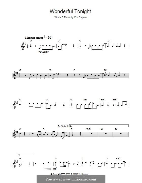 Wonderful Tonight: Für Flöte by Eric Clapton