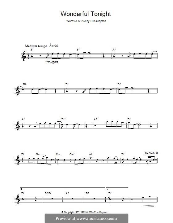 Wonderful Tonight: Für Altsaxophon by Eric Clapton
