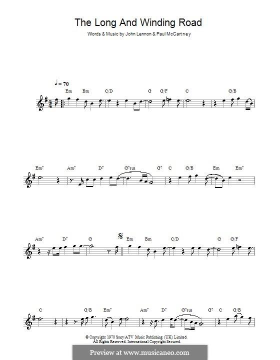The Long and Winding Road (The Beatles): Für Flöte by John Lennon, Paul McCartney
