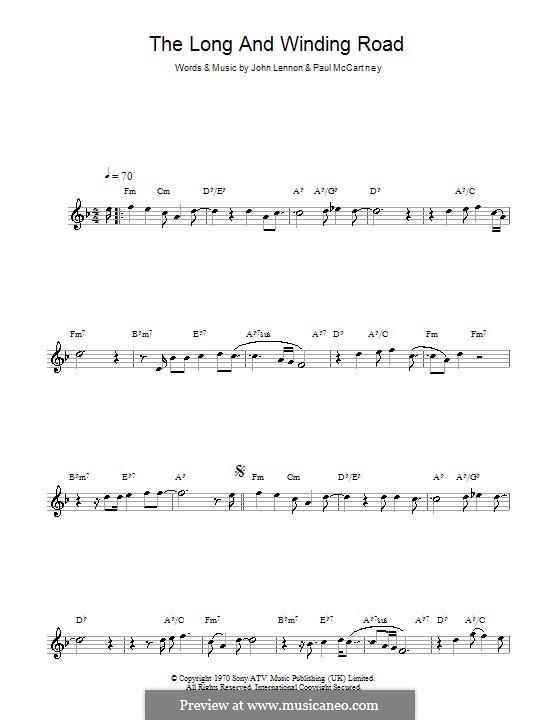 The Long and Winding Road (The Beatles): Für Saxophon by John Lennon, Paul McCartney