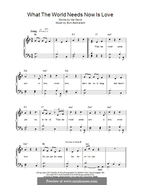 What the World Needs Now Is Love: Für Stimme und Klavier by Burt Bacharach