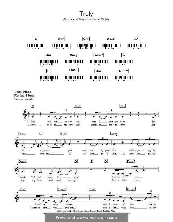 Truly: Für Keyboard by Lionel Richie