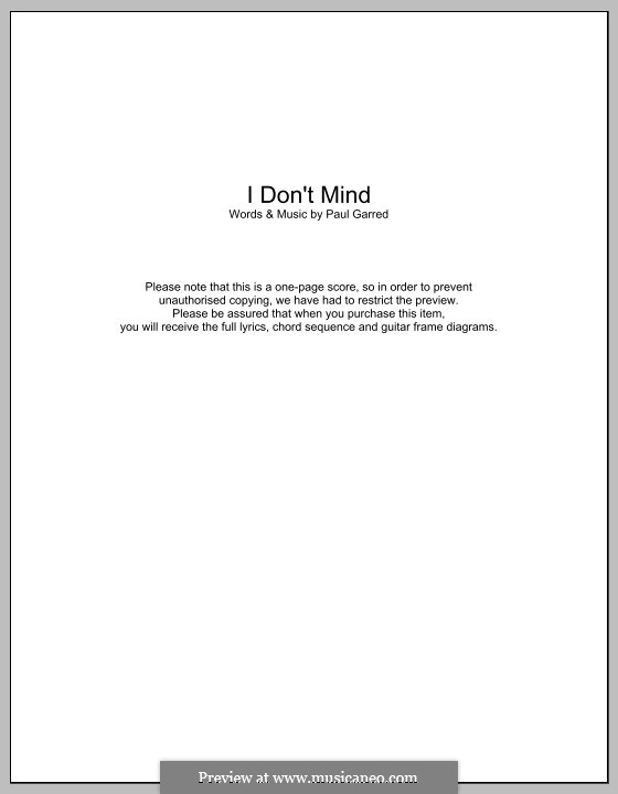 I Don't Mind (The Kooks): Text und Akkorde by Paul Garred