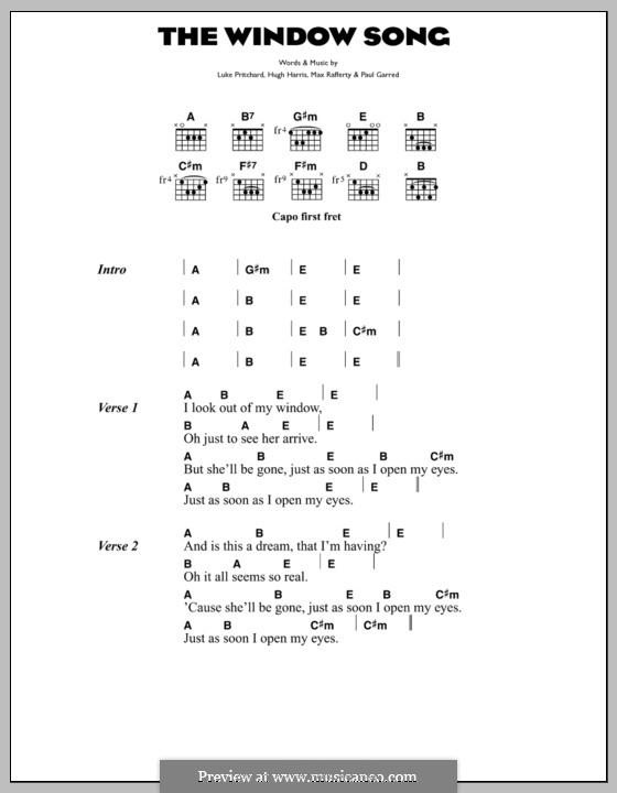 The Window Song (The Kooks): Text und Akkorde by Hugh Harris, Luke Pritchard, Max Rafferty, Paul Garred