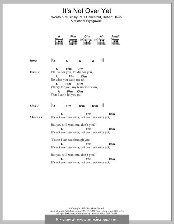 It's Not Over Yet (Klaxons): Text und Akkorde by Michael Wyzgowski, Paul Oakenfold, Robert Davis