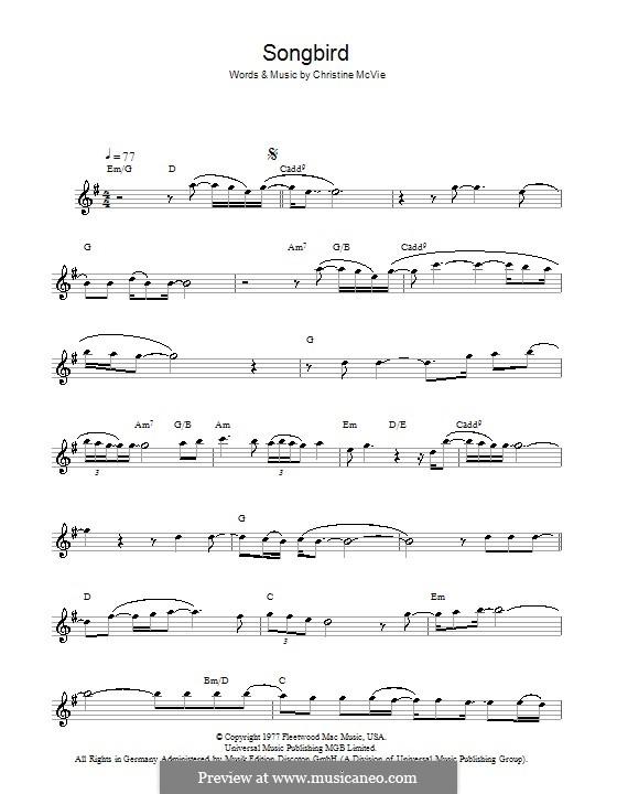 Songbird (Fleetwood Mac): Für Flöte by Christine McVie