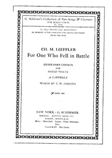 For One who Fell in Battle: For One who Fell in Battle by Charles Martin Loeffler