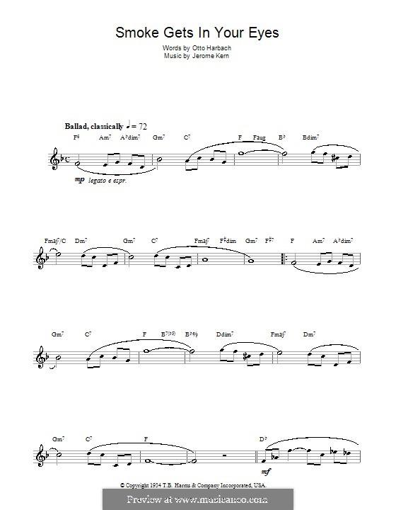 Smoke Gets in Your Eyes (from 'Roberta'): Für Flöte by Jerome Kern