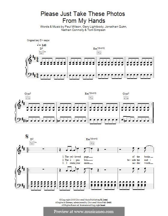 Please Just Take These Photos from My Hands (Snow Patrol): Für Stimme und Klavier (oder Gitarre) by Gary Lightbody, Jonathan Quinn, Nathan Connolly, Paul Wilson, Tom Simpson