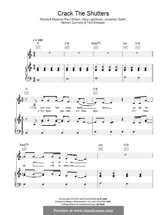 Crack the Shutters (Snow Patrol): Für Stimme und Klavier (oder Gitarre) by Gary Lightbody, Jonathan Quinn, Nathan Connolly, Paul Wilson, Tom Simpson