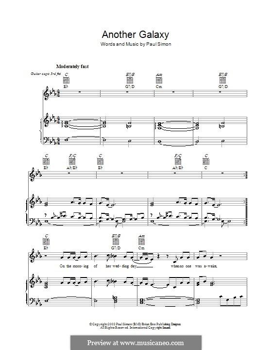 Another Galaxy: Für Stimme und Klavier (oder Gitarre) by Paul Simon
