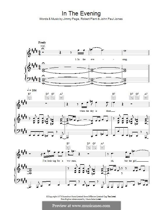 In the Evening (Led Zeppelin): Für Stimme und Klavier (oder Gitarre) by John Paul Jones, Jimmy Page, Robert Plant