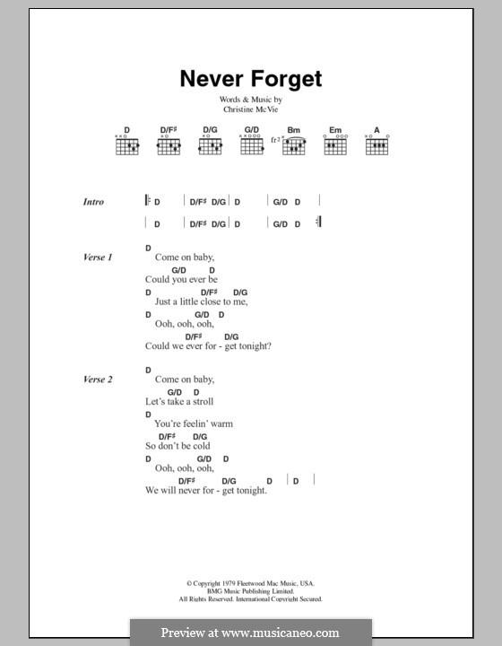 Never Forget (Fleetwood Mac): Text und Akkorde by Christine McVie