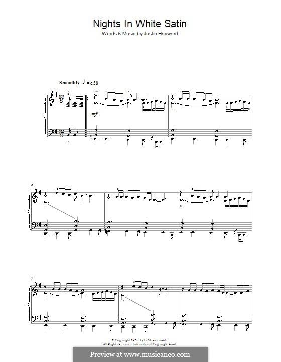 Nights in White Satin (The Moody Blues): Für Klavier by Justin Hayward