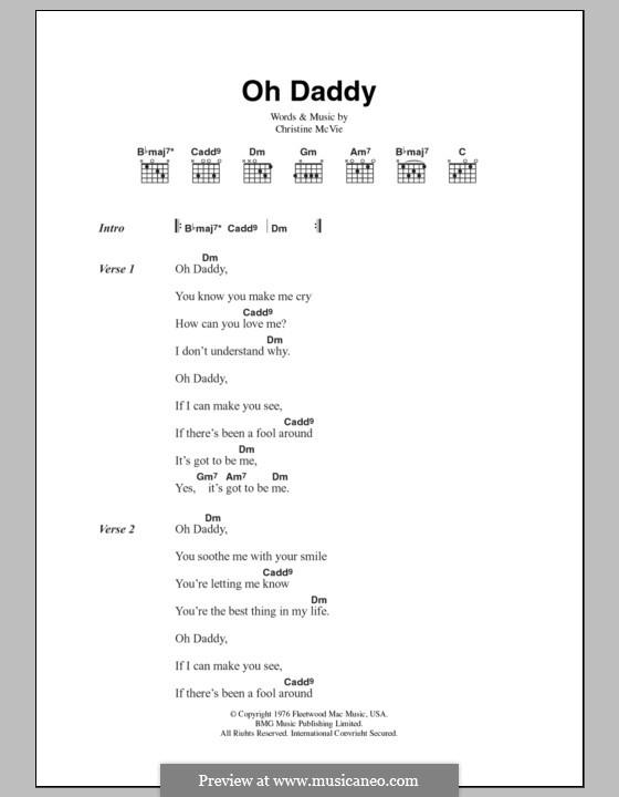 Oh Daddy (Fleetwood Mac): Text und Akkorde by Christine McVie