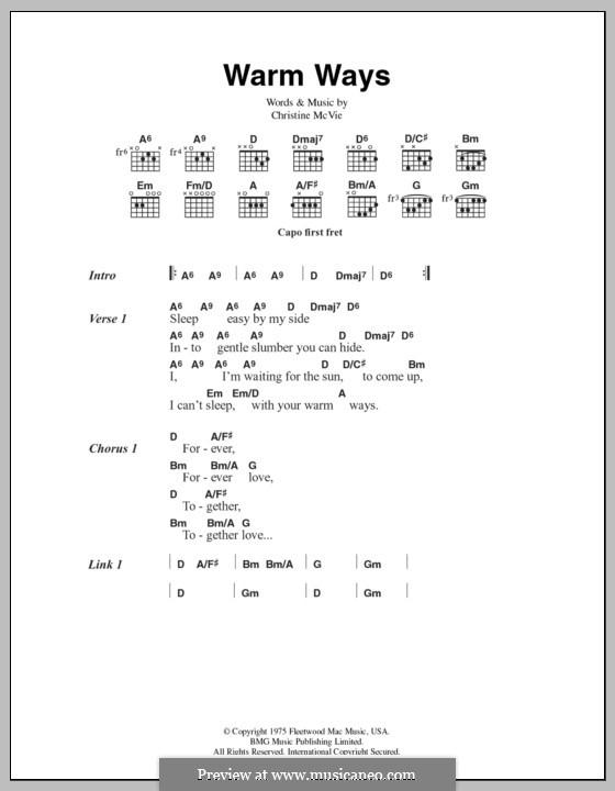 Warm Ways (Fleetwood Mac): Text und Akkorde by Christine McVie