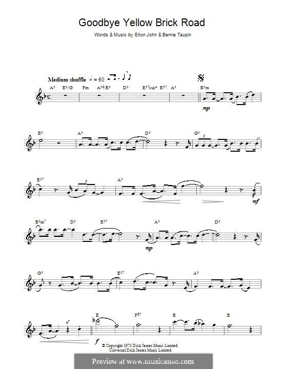 Goodbye Yellow Brick Road: Für Saxophon by Elton John