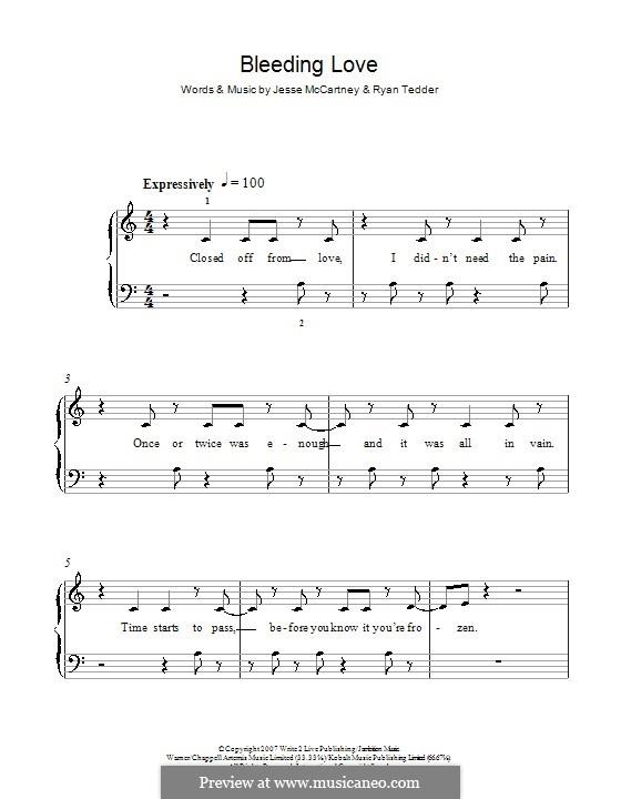 Bleeding Love (Leona Lewis): Für Klavier, leicht (C Major) by Jesse McCartney, Ryan B Tedder