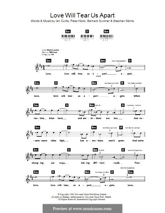 Love Will Tear Us Apart (Joy Division): Für Keyboard by Bernard Sumner, Ian Curtis, Peter Hook, Stephen Morris