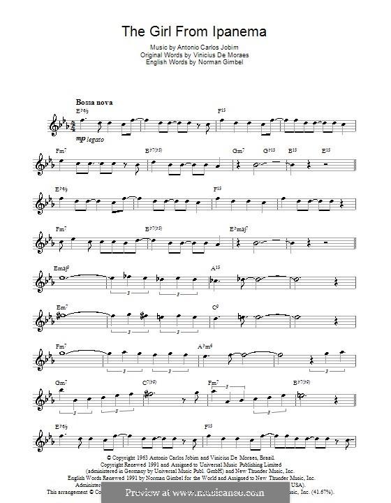 The Girl from Ipanema (Garota de Ipanema): Für Flöte by Antonio Carlos Jobim