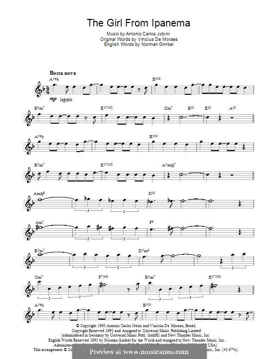 The Girl from Ipanema (Garota de Ipanema): Für Saxophon by Antonio Carlos Jobim