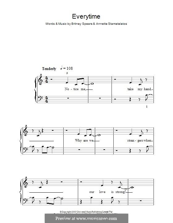 Everytime: Einfache Noten für Klavier by Annette Stamatelatos, Britney Spears