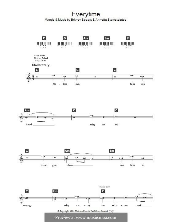 Everytime: Für Keyboard by Annette Stamatelatos, Britney Spears