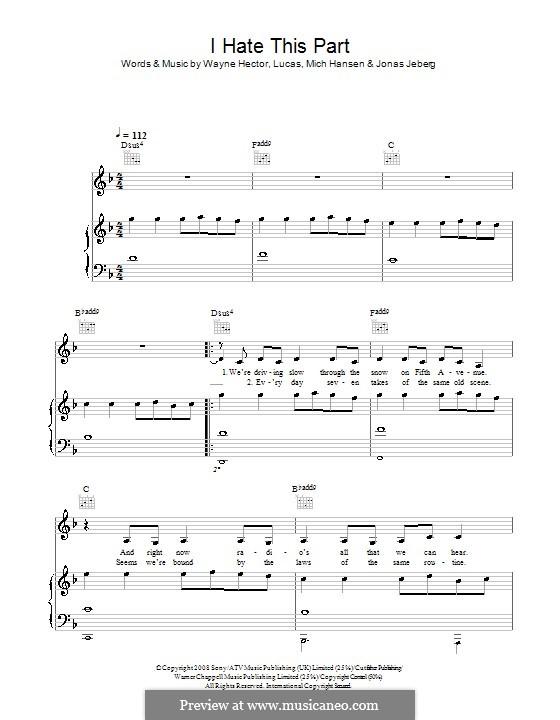 I Hate This Part (Pussycat Dolls): Für Stimme und Klavier (oder Gitarre) by Jonas Jeberg, Lucas Secon, Mich Hansen, Wayne Anthony Hector