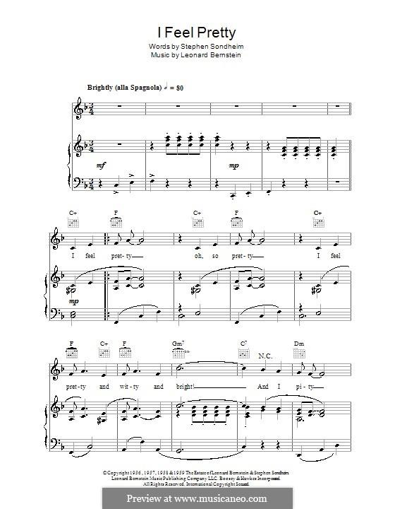 I Feel Pretty (from West Side Story): Für Stimme und Klavier (oder Gitarre) by Leonard Bernstein