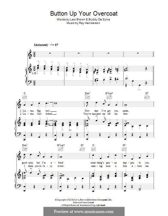 Button Up Your Overcoat (Ruth Etting): Für Stimme und Klavier (oder Gitarre) by Buddy Gard DeSylva, Ray Henderson, Lew Brown