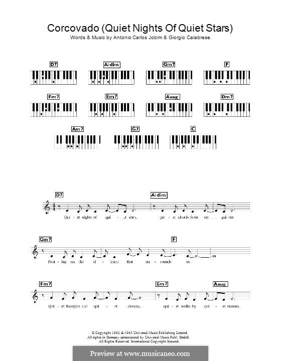 Quiet Nights of Quiet Stars (Corcovado): Für Keyboard by Antonio Carlos Jobim