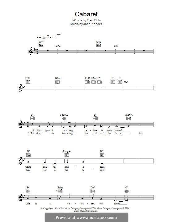 Cabaret (Liza Minnelli): Melodie, Text und Akkorde by John Kander