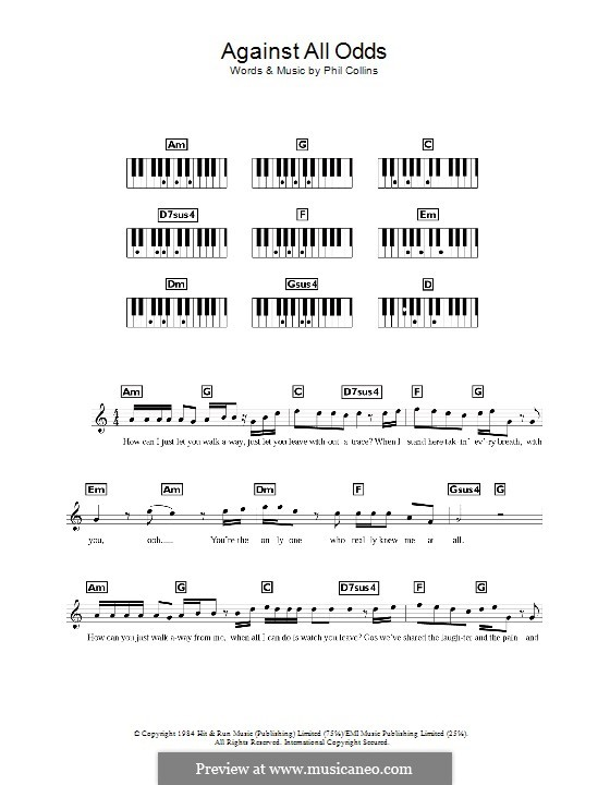 Against All Odds (Take a Look at Me Now): Für Keyboard by Phil Collins