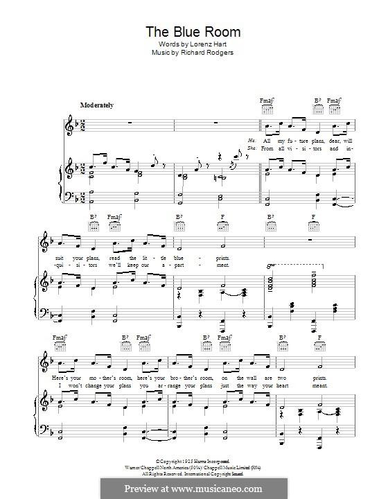 The Blue Room: Für Stimme und Klavier (oder Gitarre) by Richard Rodgers
