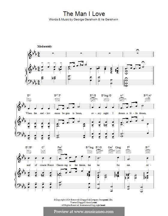 The Man I Love: Für Stimme und Klavier (oder Gitarre) by George Gershwin