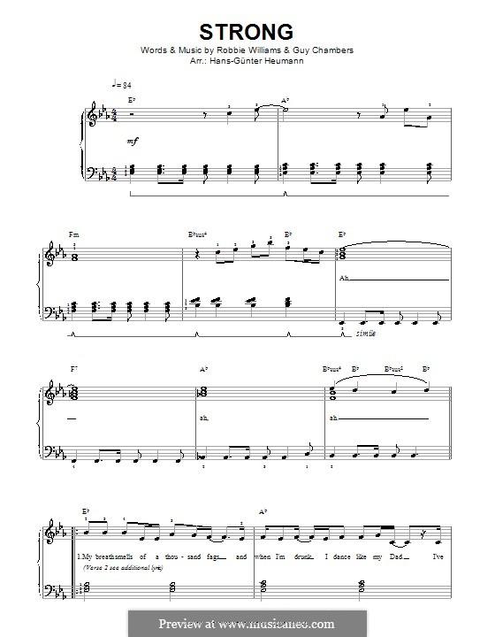 Strong: Für Stimme und Klavier by Guy Chambers, Robbie Williams