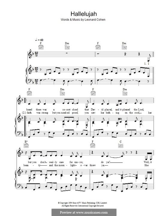 Hallelujah: Für Stimme und Klavier oder Gitarre (F-Dur) by Leonard Cohen