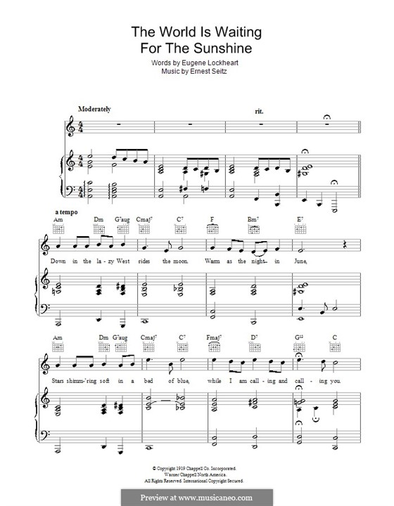 The World is Waiting for the Sunrise: Für Stimme mit Klavier oder Gitarre (John Steele) by Ernest Seitz