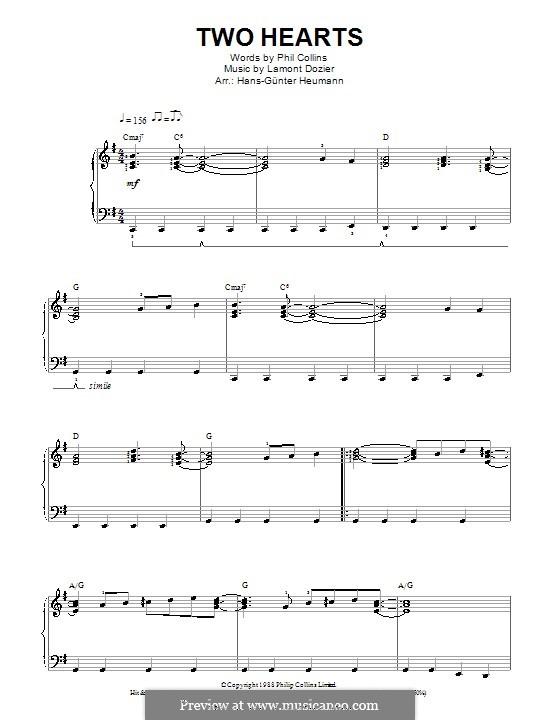 Two Hearts (Phil Collins): Für Stimme und Klavier by Lamont Dozier