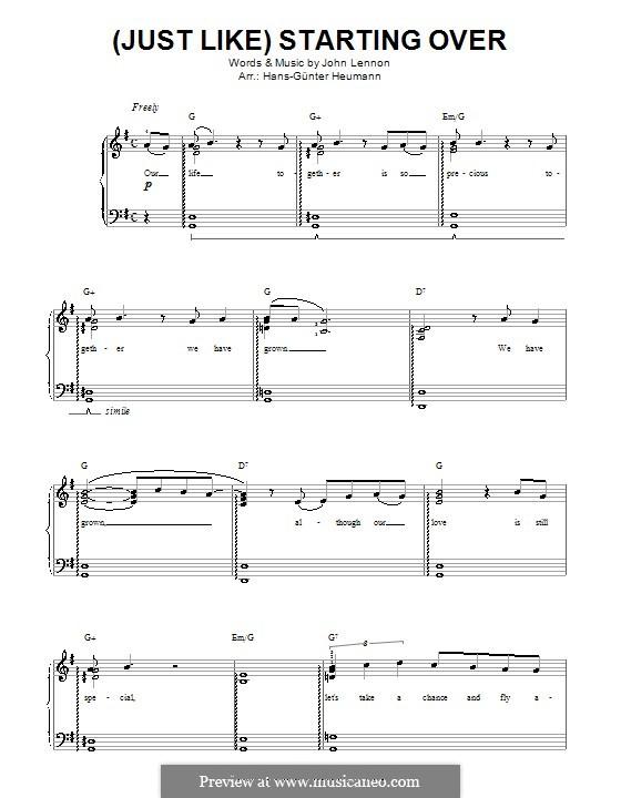 (Just Like) Starting Over: Für Stimme und Klavier by John Lennon