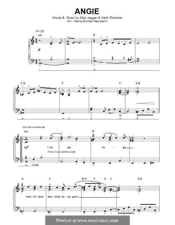 Angie (The Rolling Stones): Für Stimme und Klavier by Keith Richards, Mick Jagger