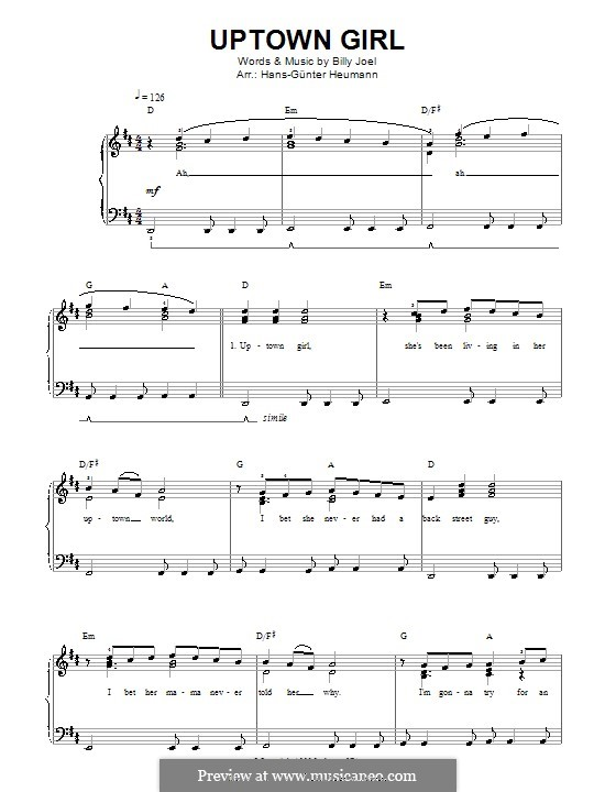 Uptown Girl: Für Stimme und Klavier by Billy Joel