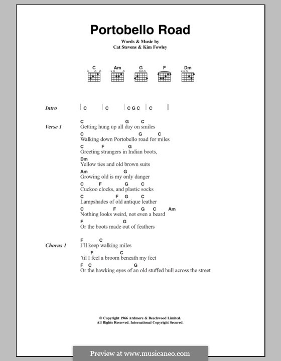 Portobello Road: Text und Akkorde by Kim Fowley